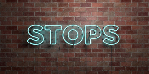 STOPS - fluorescent Neon tube Sign on brickwork - Front view - 3D rendered royalty free stock picture. Can be used for online banner ads and direct mailers..