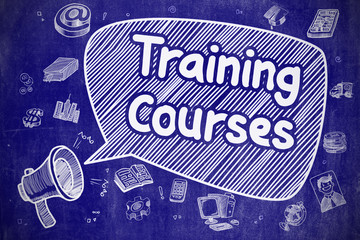 Training Courses - Cartoon Illustration on Blue Chalkboard.
