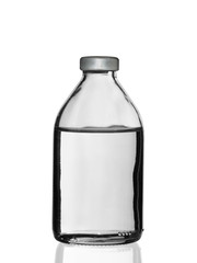 glass bottle with a medical product on a white background shadow