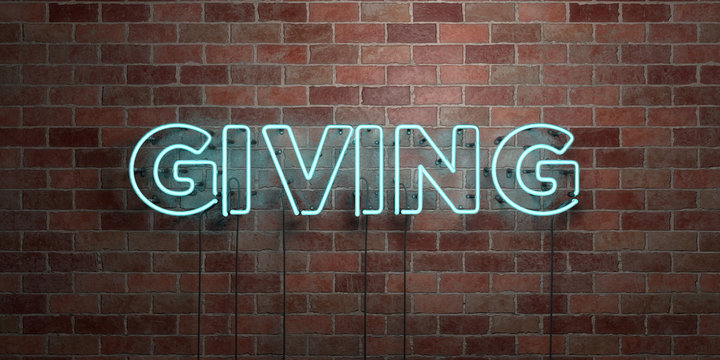 GIVING - fluorescent Neon tube Sign on brickwork - Front view - 3D rendered royalty free stock picture. Can be used for online banner ads and direct mailers..