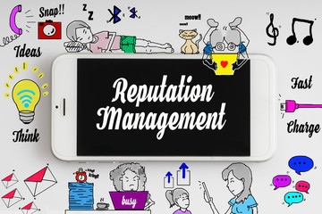 """Reputation management"" words on smartphone with doodle and social media icon - internet, social, marketing and business concept"