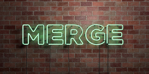 MERGE - fluorescent Neon tube Sign on brickwork - Front view - 3D rendered royalty free stock picture. Can be used for online banner ads and direct mailers..