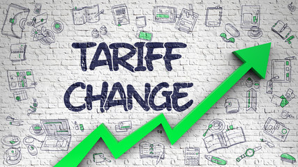 Tariff Change Drawn on White Brickwall.