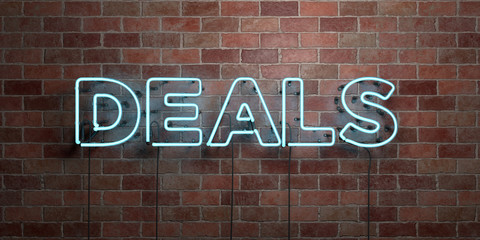 DEALS - fluorescent Neon tube Sign on brickwork - Front view - 3D rendered royalty free stock picture. Can be used for online banner ads and direct mailers..