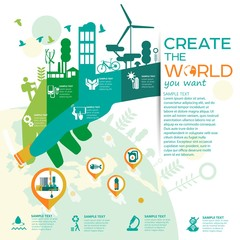 smart eco city vector illustration with different icons/ save the world/ solving ecological problems/ colorful hand hand planting seeds/ eco- info graphics