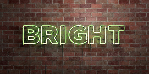 BRIGHT - fluorescent Neon tube Sign on brickwork - Front view - 3D rendered royalty free stock picture. Can be used for online banner ads and direct mailers..