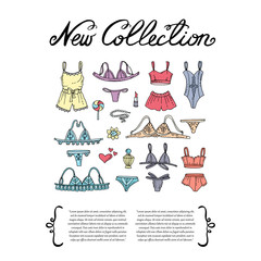 Cover with hand drawn colored lingerie. Set on the theme of new collection, fashion and beauty