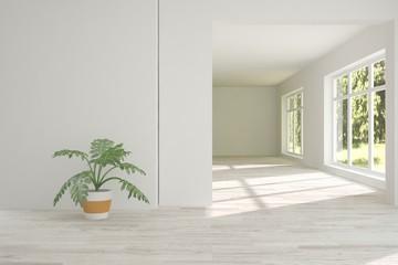 White emptyroom with green landscape in window. Scandinavian interior design