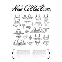 Cover with hand drawn lingerie. Set on the theme of new collection, fashion and beauty