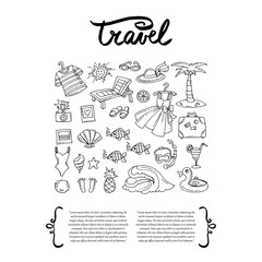 Cover with hand drawn symbols of travel. Set on the theme of sea, summer and recreation