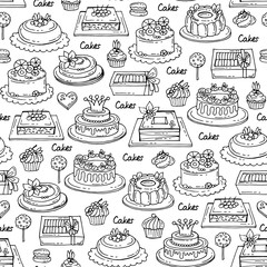 Vector seamless pattern with hand drawn cakes on white color. Pattern on the theme of sweets,  confectionery