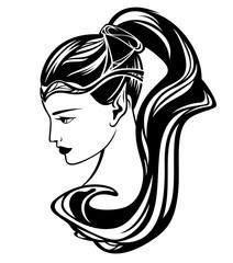 elf girl black and white vector illustration