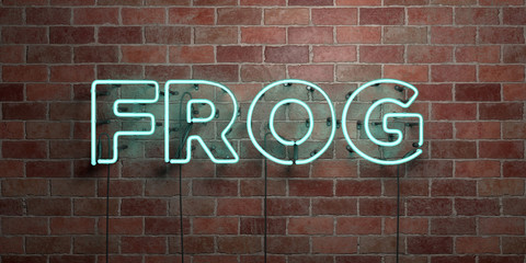FROG - fluorescent Neon tube Sign on brickwork - Front view - 3D rendered royalty free stock picture. Can be used for online banner ads and direct mailers..