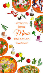 Vertical banner with dishes. Restaurant menu, cafe design.
