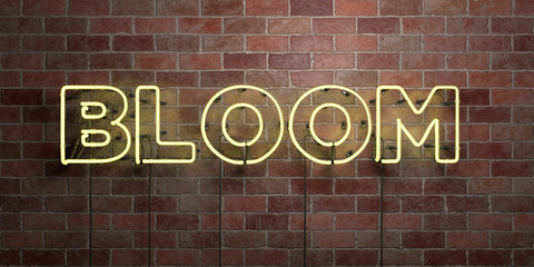 BLOOM - fluorescent Neon tube Sign on brickwork - Front view - 3D rendered royalty free stock picture. Can be used for online banner ads and direct mailers..
