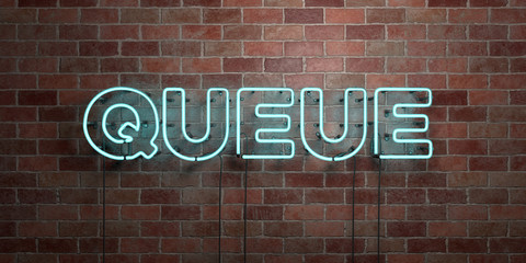 QUEUE - fluorescent Neon tube Sign on brickwork - Front view - 3D rendered royalty free stock picture. Can be used for online banner ads and direct mailers..