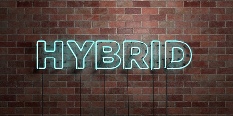 HYBRID - fluorescent Neon tube Sign on brickwork - Front view - 3D rendered royalty free stock picture. Can be used for online banner ads and direct mailers..