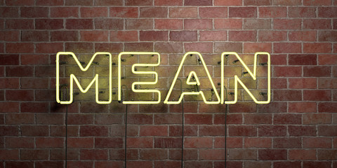 MEAN - fluorescent Neon tube Sign on brickwork - Front view - 3D rendered royalty free stock picture. Can be used for online banner ads and direct mailers..