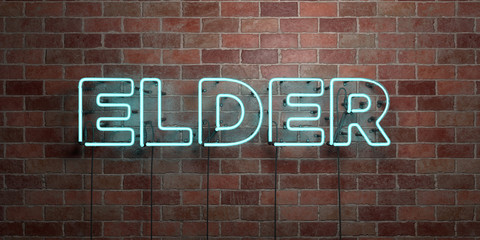 ELDER - fluorescent Neon tube Sign on brickwork - Front view - 3D rendered royalty free stock picture. Can be used for online banner ads and direct mailers..
