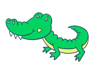 green smiling crocodile-01