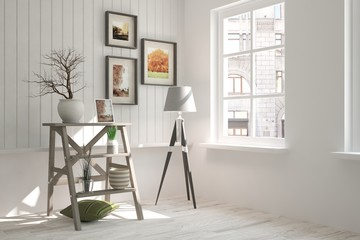 White room with shelf and urban landscape in window. Scandinavian interior design
