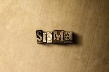 SIGMA - close-up of grungy vintage typeset word on metal backdrop. Royalty free stock illustration.  Can be used for online banner ads and direct mail.
