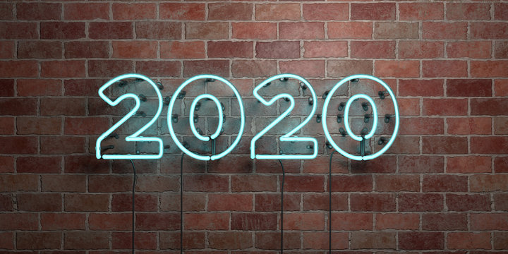 2020 - fluorescent Neon tube Sign on brickwork - Front view - 3D rendered royalty free stock picture. Can be used for online banner ads and direct mailers..