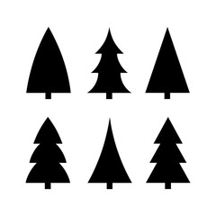 black christmas tree icon silhouette set vector