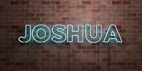 JOSHUA - fluorescent Neon tube Sign on brickwork - Front view - 3D rendered royalty free stock picture. Can be used for online banner ads and direct mailers..