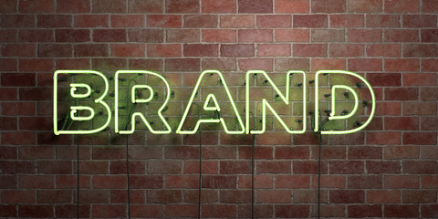 BRAND - fluorescent Neon tube Sign on brickwork - Front view - 3D rendered royalty free stock picture. Can be used for online banner ads and direct mailers..