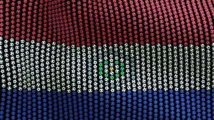 Flag of Paraguay, consisting of many soccer balls fluttering in the wind, on a black background. 3D illustration.