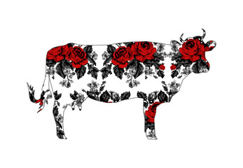Silhouette of cow with bouquet of flowers (roses and cornflowers)  using traditional Ukrainian embroidery elements.