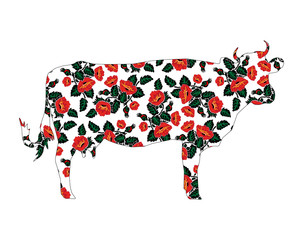Silhouette of cow with flowers. Yellow poppies. Ukrainian style.