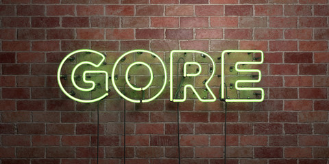 GORE - fluorescent Neon tube Sign on brickwork - Front view - 3D rendered royalty free stock picture. Can be used for online banner ads and direct mailers..
