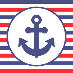 Anchor card with blue and red stripes vector