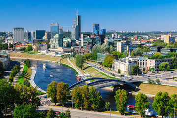 The city of Vilnius on the river
