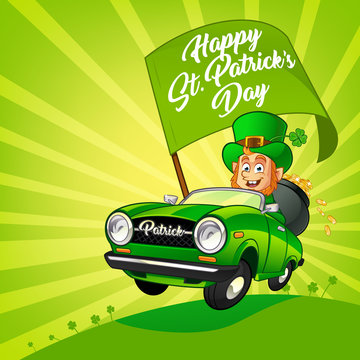Drawing of a Leprechaun driving a car