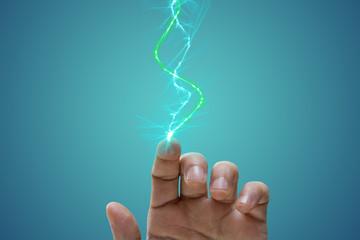 laser, tecnologia, mano,