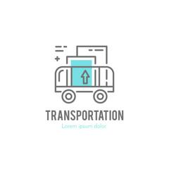 Line cargo cart logo