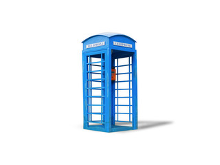 Blue telephone box,isolated on white background with clipping path.