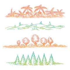 Hand drawn nature landscape with tree palms flovers and fir tree. Vector colorful landscape borders
