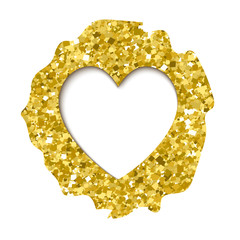 Vector gold sparkles heart. Valentines day template, realistic vector illustration. Hole in paper, golden glitter