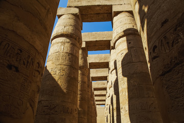 Ancient Karnak Temple in Luxor, Egypt. Photo shot in 2017. Horizontal colour image.