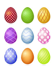 Set of nine photorealistic colorful vector Easter eggs with very simple patterns and shadow isolated on a white background.
