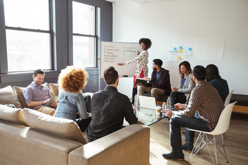 Colleagues looking at businesswoman writing on whiteboard in meeting room