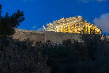 Amazing night photo of Acropolis of Athens, Attica, Greece