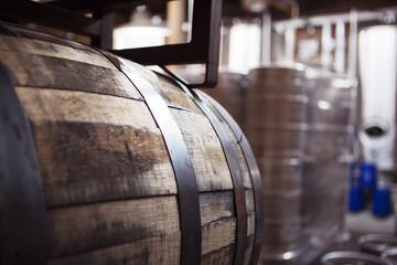 Close-up of barrel at brewery
