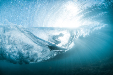 Low angle view of surfboard in sea
