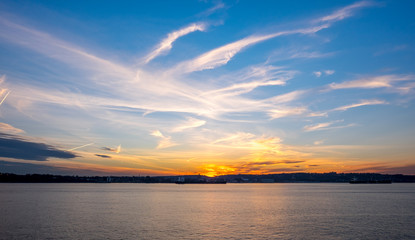 Sunset view of waterfront