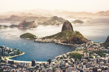 View of Sugarloaf Mountain by cityscape